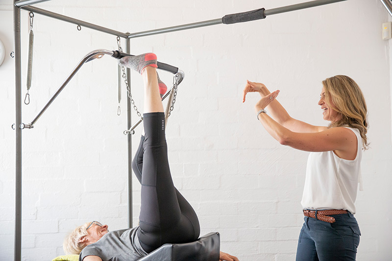 clinical pilates with client and physio in studio nedlands